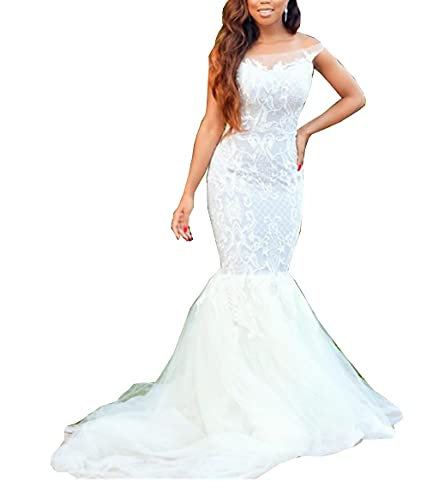 Solandia Wedding Dresses for Bride Off The Shoulder Lace up Corset Mermaid Bridal Ball Gown with...