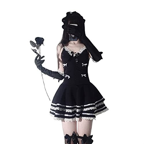 Claiyi Sexy Maid Cosplay Costumes Cute Black Dress And Thong Sexy Anime School Girl Gothic Outfit...