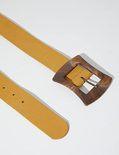 Belt with Marbled Buckle S/M Ochre