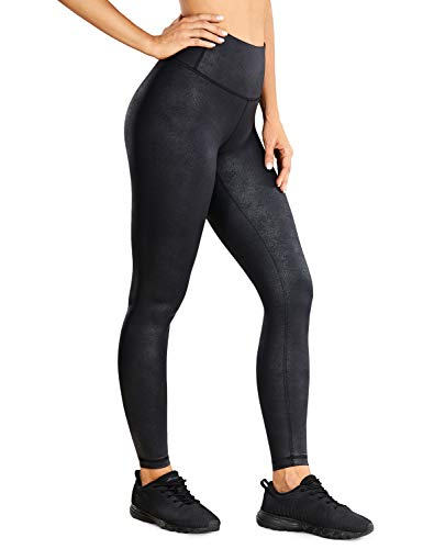 CRZ YOGA Women's Faux Leather Workout Leggings 28 Inches - Stretchy Yoga Pants Lightweight High...