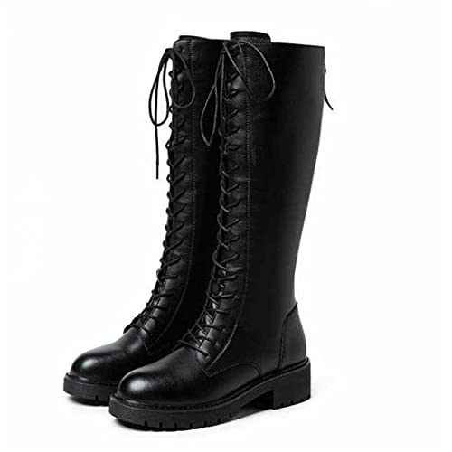 Winter Gothic Plush Knee High Boots for Women Punk Leather Combat Boots Warm Fur Thick-Soled Boots...