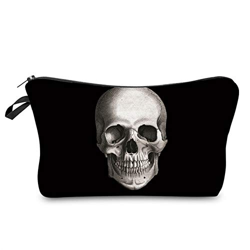 LOOMILOO Small Makeup Bag Black Skull Cosmetic Bags for Women Good Idea for Gift (hzb-42)