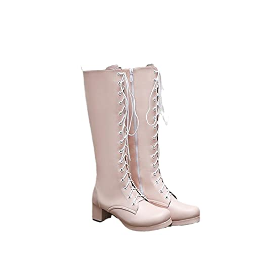Lace Up Knee High Boots for Women Sweet Lovely Riding Boots Flat Low Heel Shoes Pink 5.5