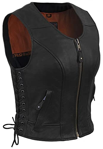 True Element Womens Fitted Side Laced Leather Motorcycle Vest with Zip Front Closure (Black, Medium)