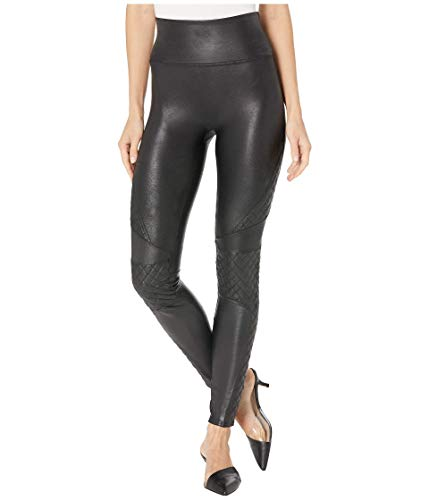 SPANX Faux Leather Quilted Leggings Very Black MD - Regular 26