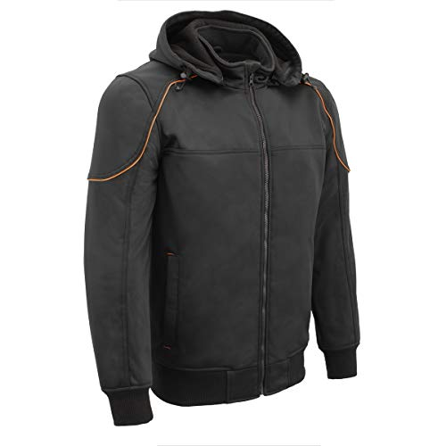 Milwaukee Leather MPM1764 Men's Black Soft Shell Armored Racing Style Jacket with Detachable Hood -...