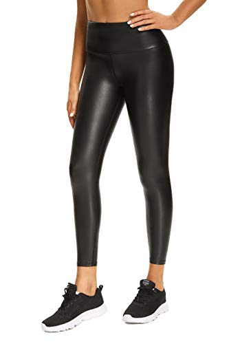 Foucome Womens Faux Leather Leggings 4-Way Stretch High Waisted Leather Pants (Black, M)