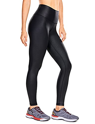CRZ YOGA Women's Faux Leather Workout Leggings 25 Inches - High Waisted Tights with Inner Pocket...