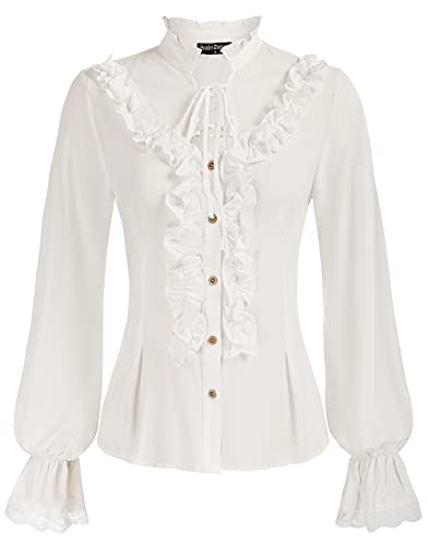 Women's Vintage Victorian Button Down Top Ruffle Stand-Up Collar Blouse White L