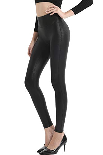 Retro Gong Womens Faux Leather Leggings Stretch High Waisted Pleather Pants(Black,S)