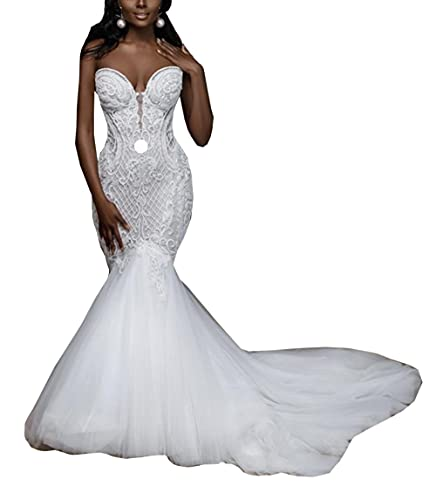 Beaded Wedding Dresses for Bride Plus Size Sweetheart Neckline Lace up Corset Mermaid Bridal Ball...