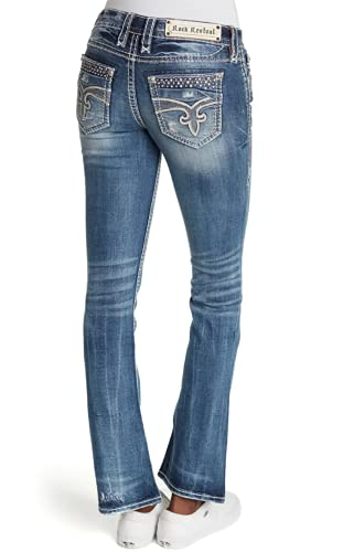 Rock Revival - Glade Distressed Womens Mid-Rise Boot Cut Jeans (26, Karise)