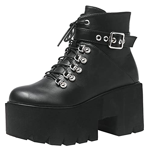Agodor Women's Platform Goth Combat Boots Lace up Chunky High Heels Gothic Punk Ankle Boots (US 4,...