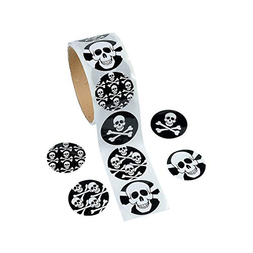 Fun Express Skull Stickers (100ct) 4 Cool Designs, 1 1/2' Round Stickers, Halloween, Pirate, Party...