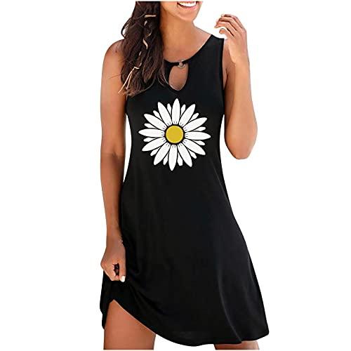 Summer Tank Dress for Women Casual Sexy Hollow Vintage O-Neck Sleeveless Floral Printed Round Button...