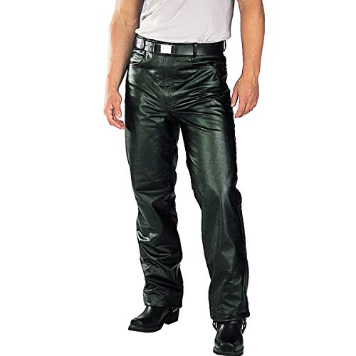 Xelement B7400 Men's 'Classic' Black Fitted Leather Pants - 34