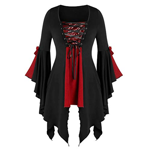 Aniywn Plus Size Womens Halloween Tops, Flare Long Sleeve Sequined Lace Up Gothic Costume Tunic Tee...