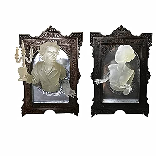 KASUP Ghost in The Mirror Wall Sculpture Decor, 3D Horror Resin Glow in The Dark ,Halloween...