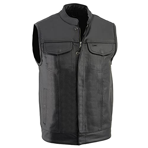 Milwaukee Leather LKM3710 Men's Black Club Style Leather Vest with Open Neck and Gun Pockets -...