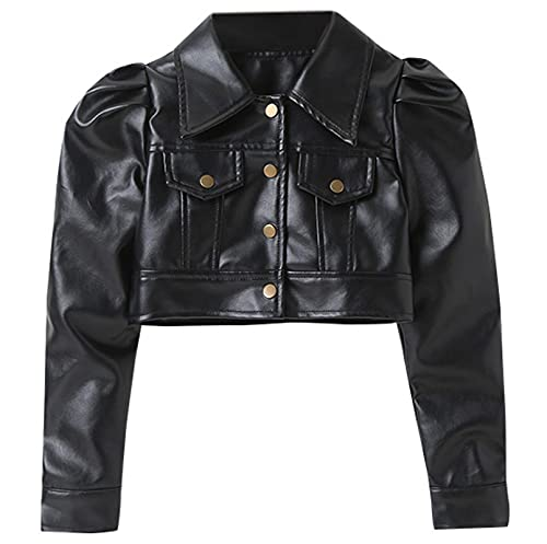 SANGTREE Girls' Faux Leather Motorcycle Crop Jacket, Lapel Button Up Long Puff Sleeve PU Leather...