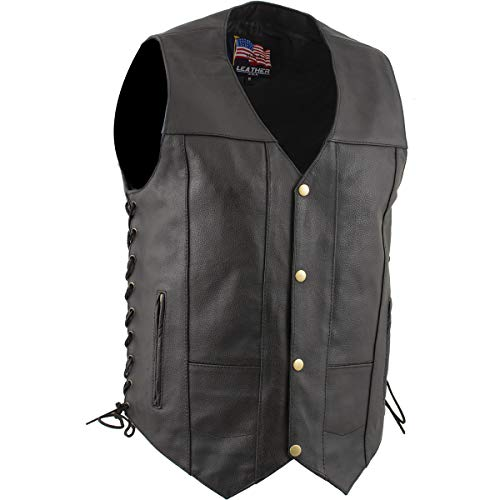 USA Leather 1204'Dime' Classic Leather Men's Ten Pocket Vest with Side Laces - Large