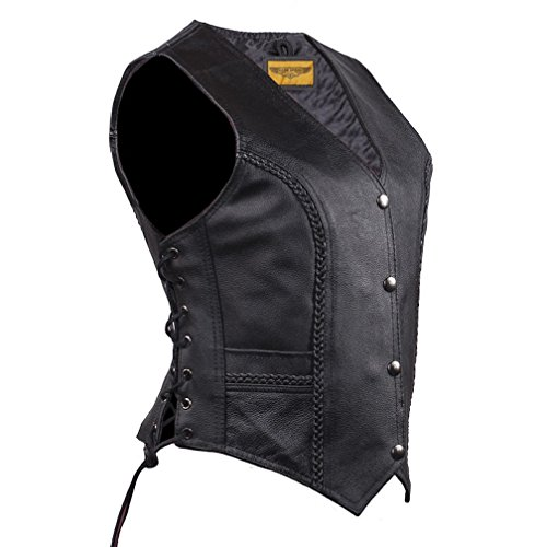 Women Long Cut Black Leather Motorcycle Vest With Braid on Front and Back (M)