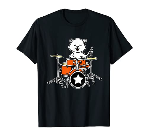Drummer Cat Rock And Roll Drum Meow Kitty Heavy Meowtal T-Shirt