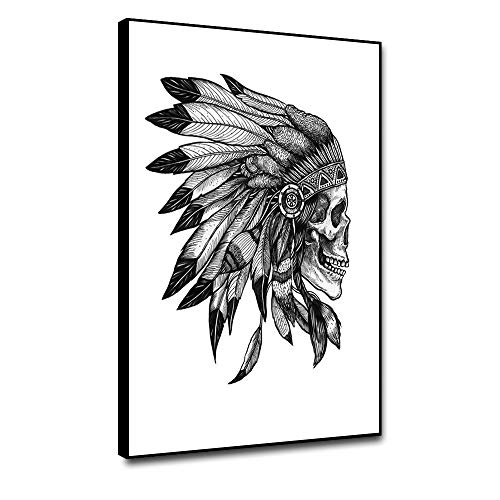 shensu Framed Canvas Wall Artwork Art Prints Abstract Posters Simple Black White Native American...