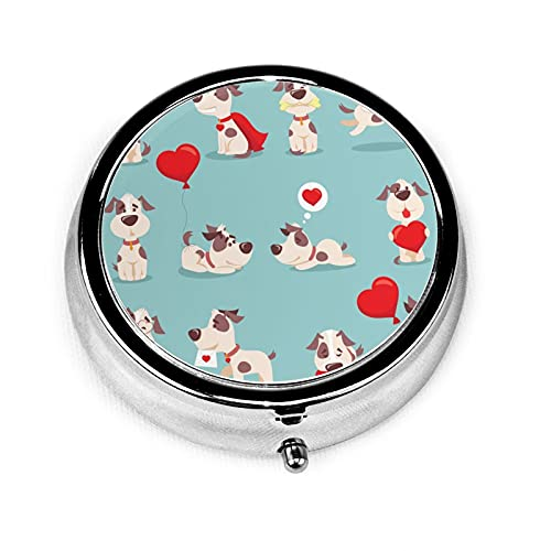 Small Pill Box Case Round Cute Funny Cartoon Valentine Dogs-Pupies With Love Heart Portable Medicine...