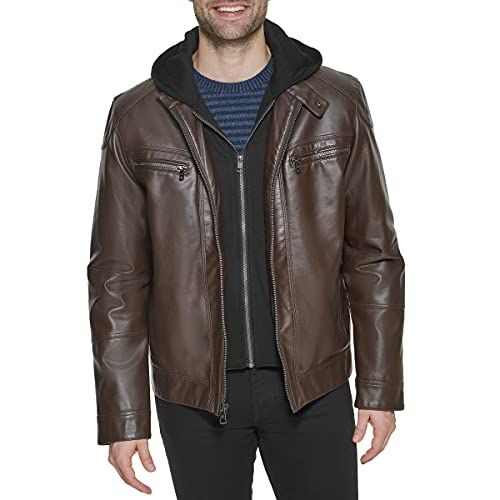 Calvin Klein Men's Faux Lamb Leather Moto Jacket with Hoodie, Brown, Large