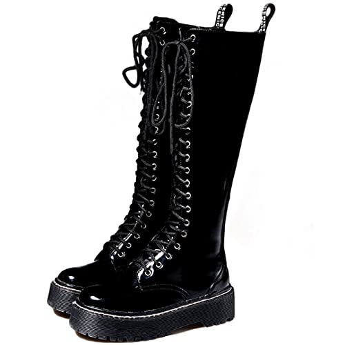 Platform Women Lace Up Patent Leather Knee High Motorcycle Boots Warm Round Toe High Boots Black 11