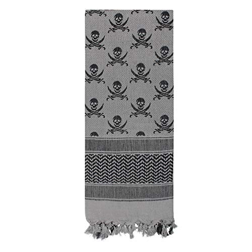 Rothco Skulls Shemagh - Tactical Desert Scarf, Grey/Black Size