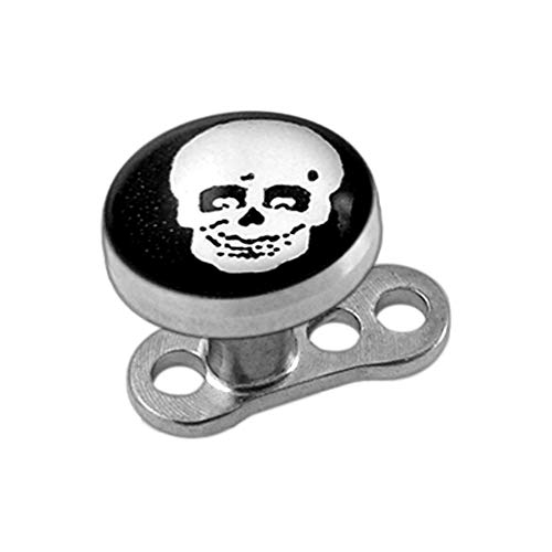 AtoZ Piercing Skull Picture Surgical Steel Top with Titanium Base Micro Dermal Anchor Jewelry