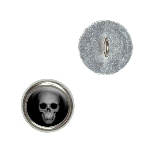 Human Skull - Front View Metal Craft Sewing Novelty Buttons - Set of 4