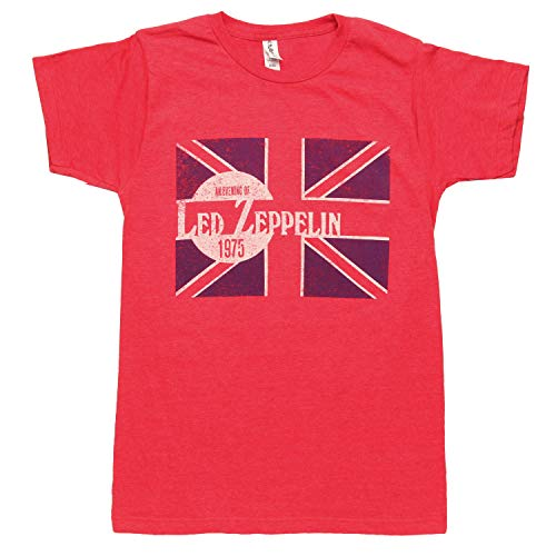 Led Zeppelin Classic Rock Band Evening of Graphic Mens Short Sleeve Crewneck T-Shirt - Red (Small)