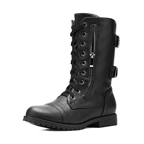 DREAM PAIRS Women's Terran Black Mid Calf Built-in Wallet Pocket Lace up Military Combat Boots - 7.5...