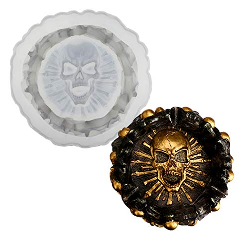 Chistepper Skull Ashtray Resin Casting Mold Halloween Skull Silicone Mould Round Silicone Skeletons...