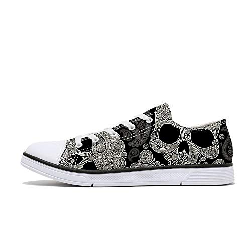 FIRST DANCE Women Men Skull Printed Shoes Cool Paisley Print Fashion Sneakers for Teen Boys Girls...