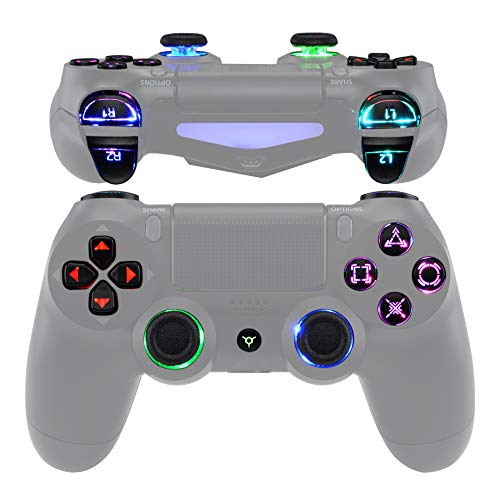 eXtremeRate Multi-Colors Luminated D-pad Thumbstick Trigger Home Face Buttons, Black Classical...