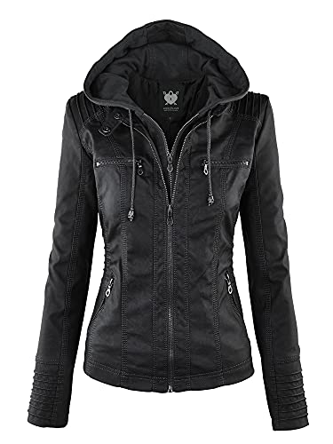 Lock and Love LL WJC663 Womens Removable Hoodie Motorcyle Jacket L Black