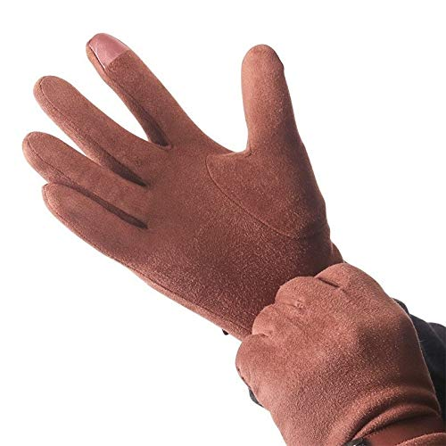 Ashome Stylish Autumn and Winter Warm Suede Men's Gloves Touch Screen Plus Velvet Thickened Drive...