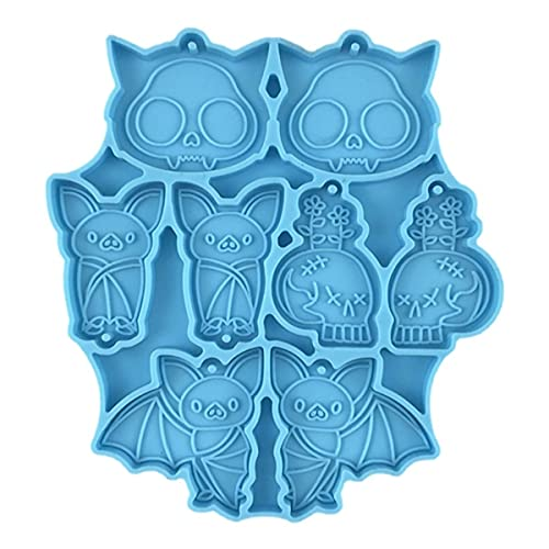 LOWYU Halloween Resin Molds Bat Skull Jwelry Mold Alien Silicone Charms, Gothic Casting Craft...