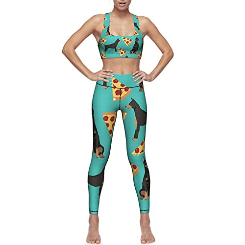 Women Doberman Pinscher Turquoise Pizza Two Piece Sports Yoga Suit Sets, Crop Tank Top Bra and High...