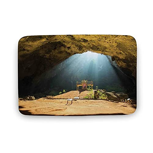 Outdoor Entrance Doormat Natural Cave Decorations,View from Inside of Buried Den to Beach and Sky...