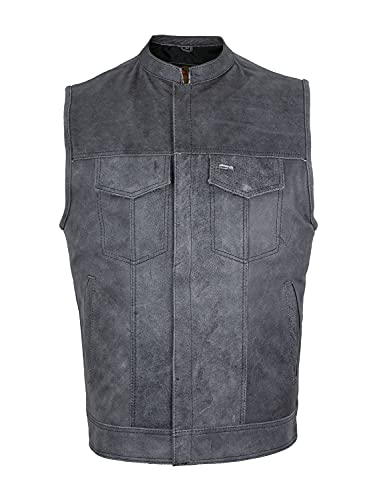 Men's Riding SOA Style Motorcycle Club Vest Naked Distressed GREY Leather. BUTTER SOFT LEATHER. (42)