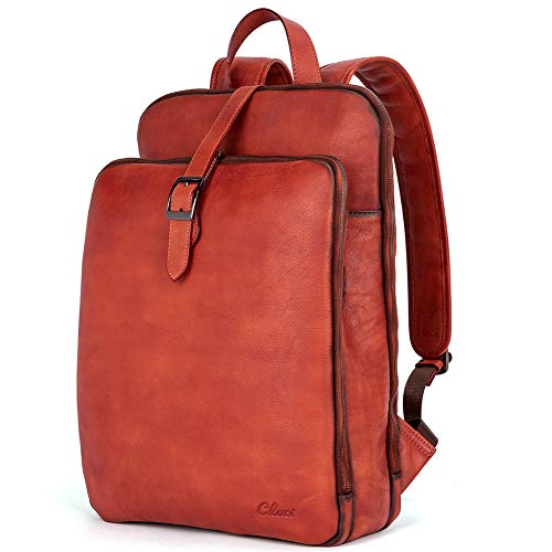 Womens Backpack Purse Vegetable Tanned Full Grain Leather 15.6 Inch Laptop Travel Business Vintage...