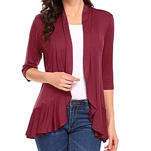 Women's Cardigan Solid Color Daily Fashion Trend Casual Top Coat Slim Fit Wine