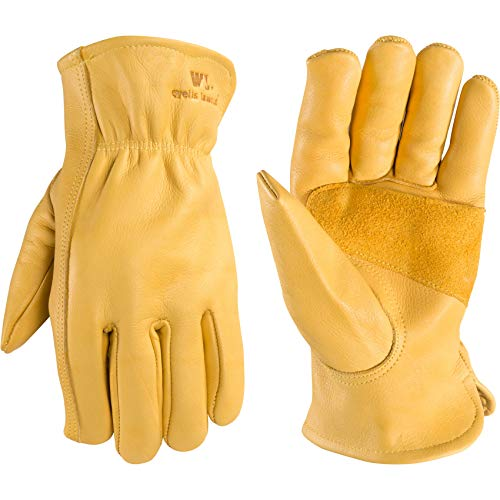 Men's Reinforced Leather Work Gloves with Palm Patch, XX-Large (Wells Lamont 1129)