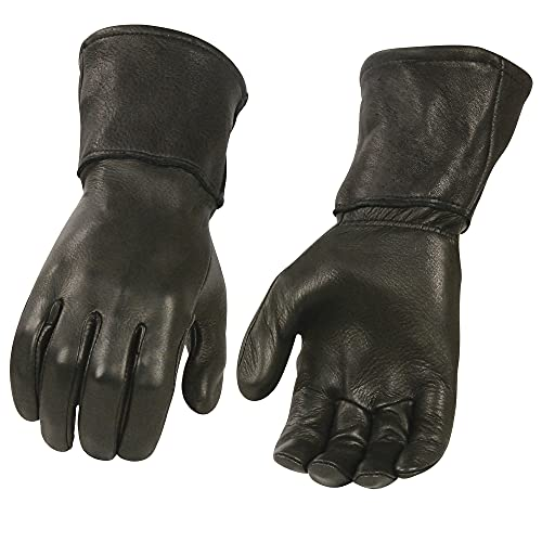 Milwaukee Leather G317 Men's Black Deerskin Leather Thermal Lined Gauntlet Gloves (3X-Large)
