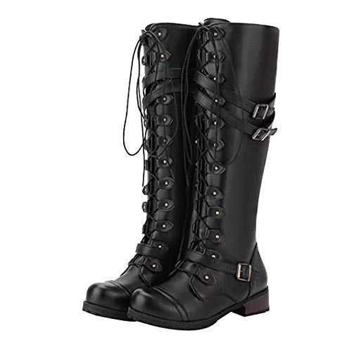 Amiley women boots winter,Clearance Women Steampunk Gothic Vintage Style Retro Punk Buckle Military...